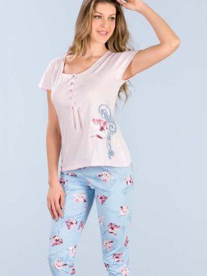 Γυναικεία καλοκαιρινή πυτζάμα Minerva Capri Floral 8b31817ba2d