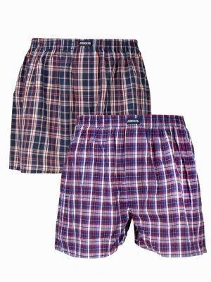 Shorts Ποπλίνα Καρό 2 Τεμάχια Minerva Μαρίν - Κόκκινο