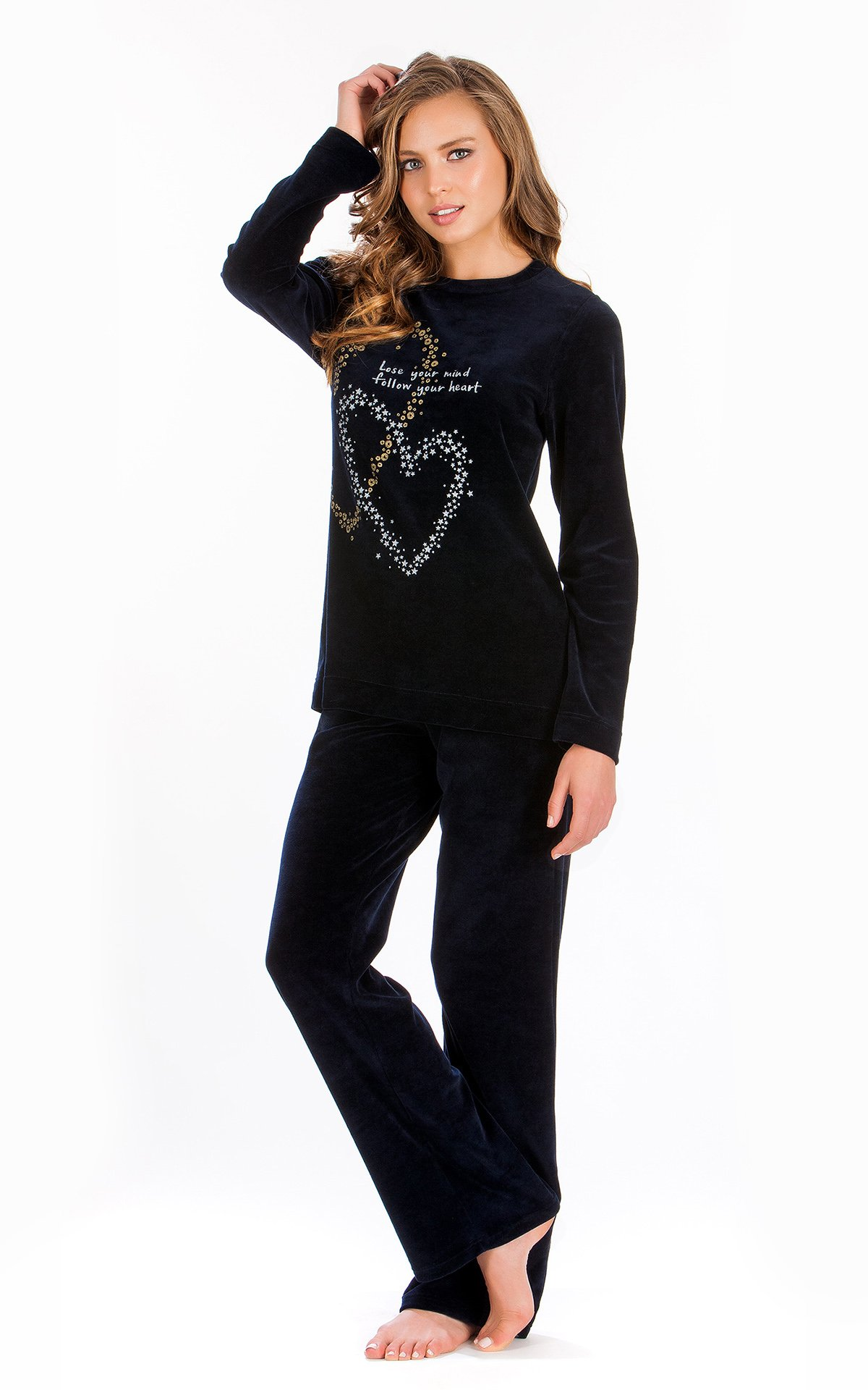 Βελουτέ Γυναικεία Πυτζάμα Velvet Hearts Minerva - Posto 7680ec0d950