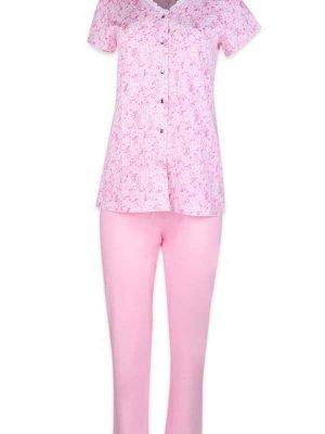 Γυναικεία καλοκαιρινή πυτζάμα Minerva Pink Floral