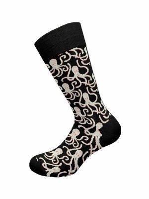 Ανδρική Βαμβακερή Κάλτσα Με-Σχέδιο Walk Μαύρο