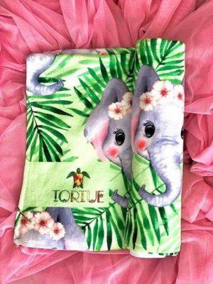 Παιδική-Εφηβική Πετσέτα Θαλάσσης Με-Ελεφαντάκια Tortue 066-100