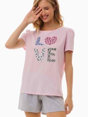 Γυναικεία Πυτζάμα Love Ροζ Minerva 51989