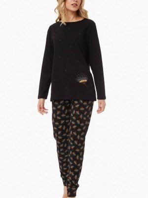 Γυναικεία Πυτζάμα Floral/Dots Minerva Μαύρο 52058