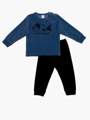 Βρεφική Πυτζάμα Lazy-Beagle Μπλε-Βελουτέ Minerva 61877
