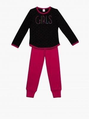 Παιδική-Πυτζάμα Girl-Dots Μαύρο Minerva 61885 4-6-8-10