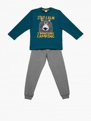 Παιδική-Πυτζάμα Stay-Calm Πετρόλ Minerva 61909 12-14-16