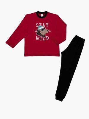 Παιδική-Πυτζάμα Stay-Wild Κόκκινο Minerva 61916 4-6-8-10